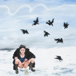 karl gietl, crows in the snow, oil on canvas, 80x100cm, 2009