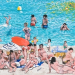 mediterranean beach, oil on canvas, 80x100cm, 2009