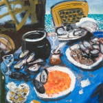 still life after the mussels, oil on canvas, 46x36cm, 2008