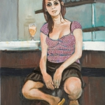 young woman in a bistrot, oil on canvas, 61x46cm, 2008