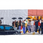 friday afternoon in nottinghill, silk tapestry, 103.5x44 cm