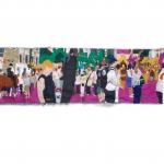 nottinghill carnival, silk tapestry, 136x35cm