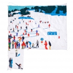 the ski lesson, silk tapestry, 111x120cm