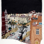 winter in hall road, silk tapestry, 65x57 cm