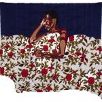 midnight aura, silk tapestry, 100x94 cm