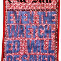 Even the wretched will be saved, fabric and embroidery, 155x111 cm, 2008