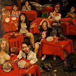 cafè des pigeons, oil on canvas, 100x81cm, 2013