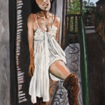 young woman on a balcony, oil on canvas, 92x65cm, 2009