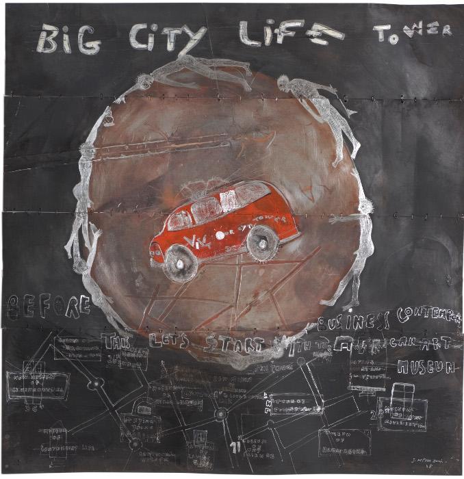 Joël mpah dooh, big city life tower, acrylic on metal, 100x102cm, 2008