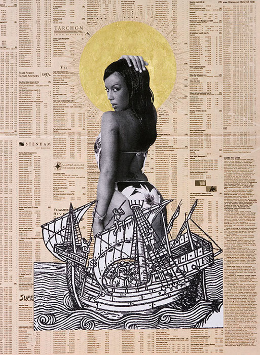 godfried_donkor_browning_madonna_mixed_media_collage_on_paper_2006