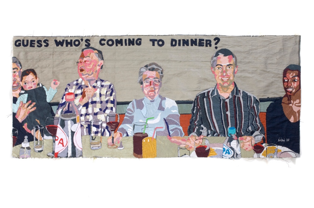 the inquisition, dinner at mrs wong, silk tapestry, 44x103cm
