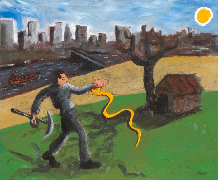 the yellow snake dream, oil on canvas, 55.5x61cm, 1999-2004